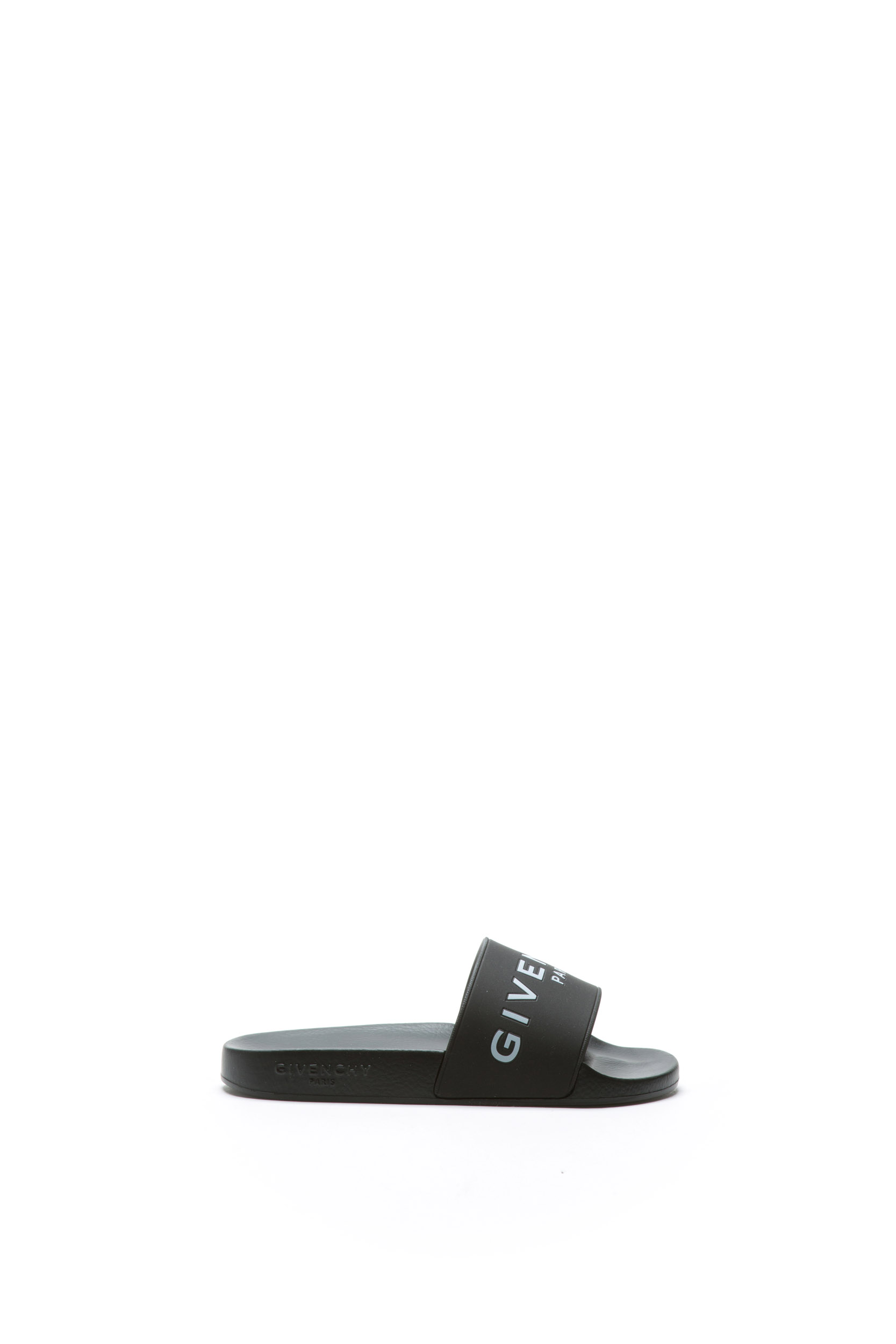 BLACK RUBBER SLIPPERS WITH LOGO